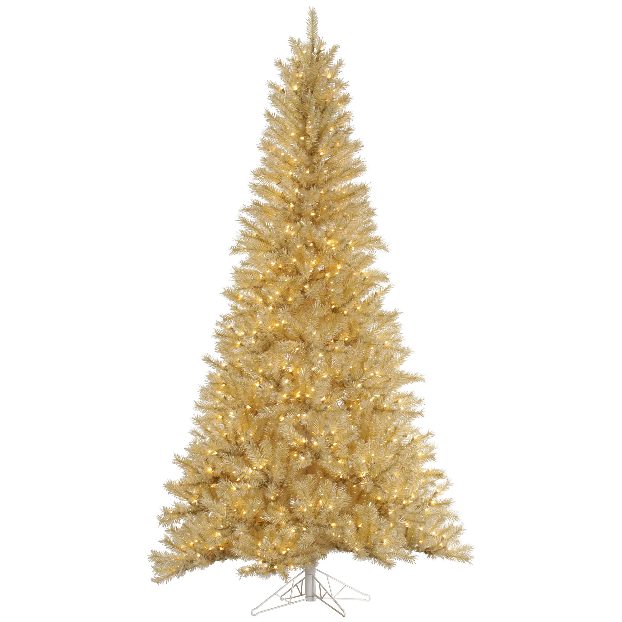 "Vickerman Artificial Christmas Tree 6.5' x 42"" White/Gold Tinsel 450 Warm White LED Lights"
