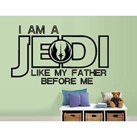 "Decal ~ I am a JEDI like my father before me #3: Children, Star Wars Inspirational Wall or window decal 17"" x 28"""