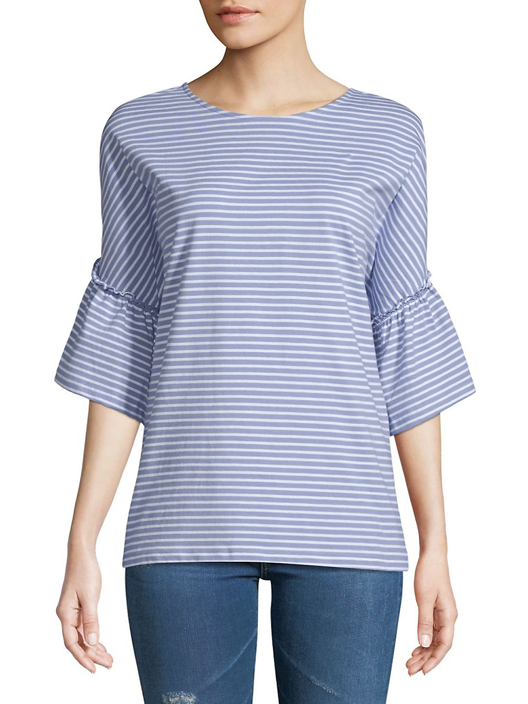 Flared-Sleeve Cotton Top