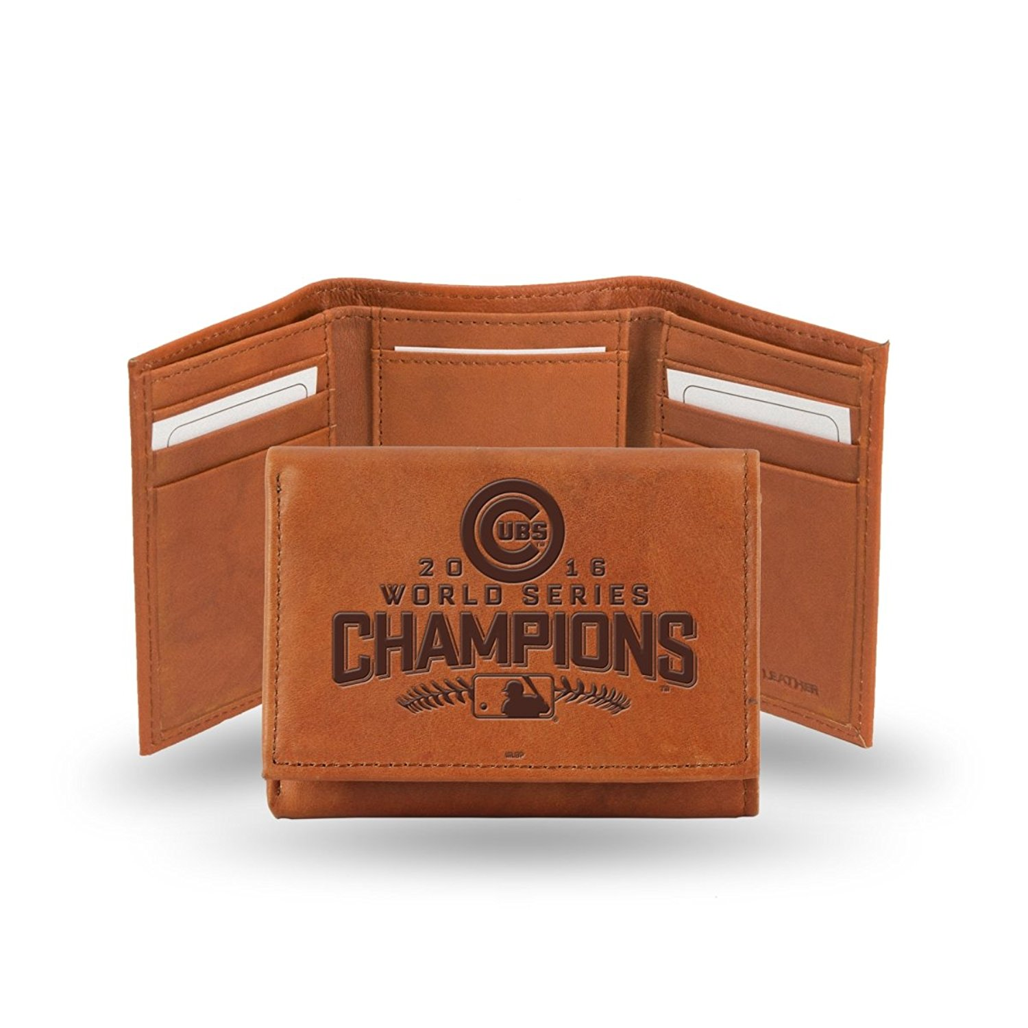 Chicago Cubs 2016 World Champions Embossed Leather Tri-Fold Wallet, Officially Licensed By Rico