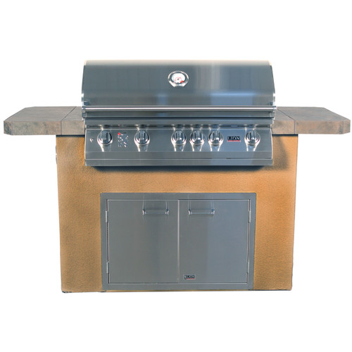 Lion Premium Grills Prominent Q Stucco Built-In Gas Grill with Side Shelves