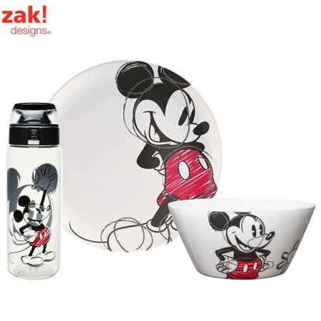 Zak! Designs Disney Mickey Mouse Plate, Bowl & Water Bottle , 3-Piece Set (Mickey Mouse Clubhouse Dinnerware)
