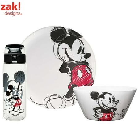 Zak! Designs Disney Mickey Mouse Plate, Bowl & Water Bottle , 3-Piece Set](Mickey Mouse Plate Set)