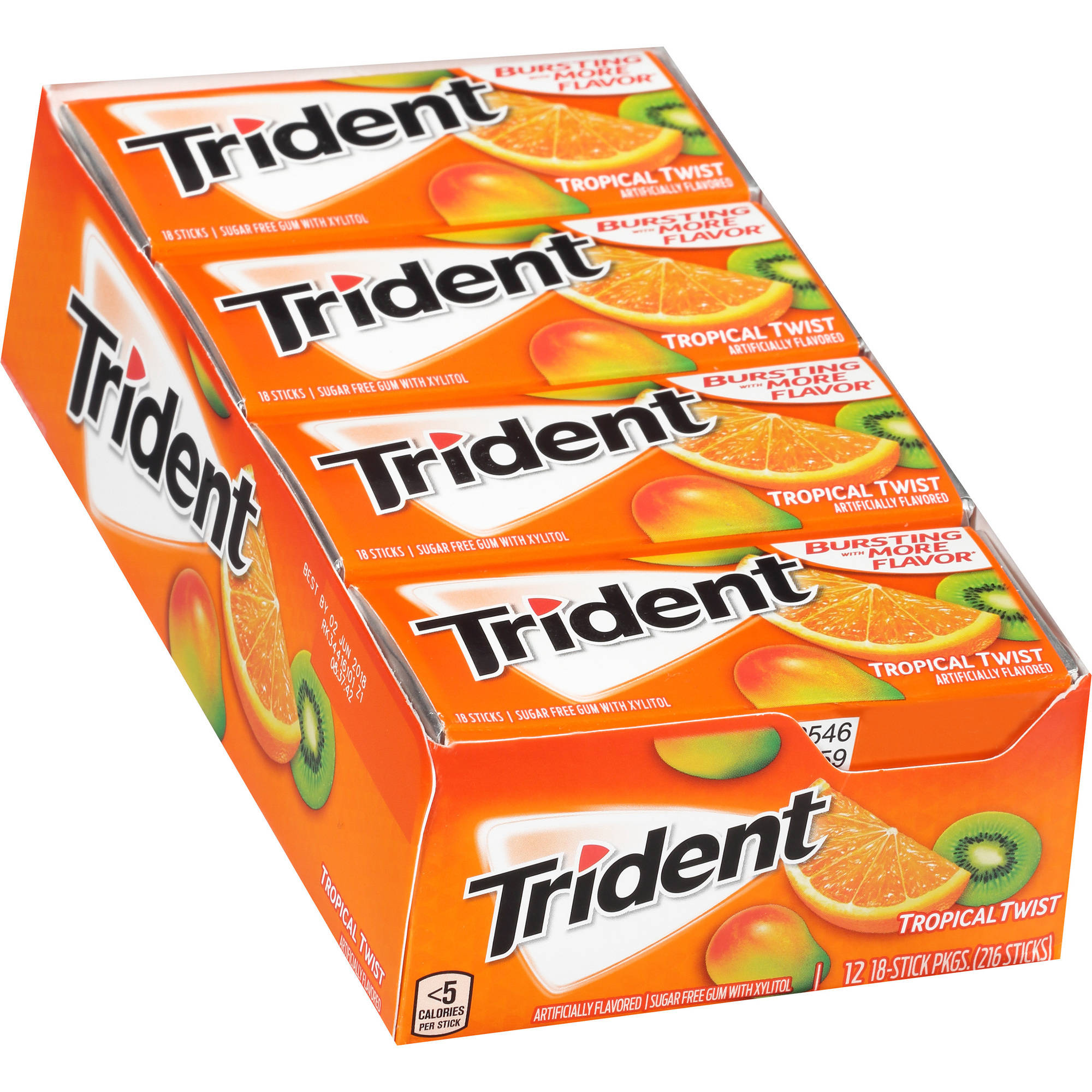 Trident Tropical Twist Sugar Free Gum with Xylitol, 18 count, (Pack of 12)