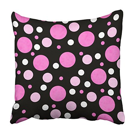 CMFUN Retro Pink White and Black Polka Dot with That Is and Repeats Abstract Antique Pillowcase Cushion Cover 18x18 (Jordan Retro 13 Black Hyper Pink White)
