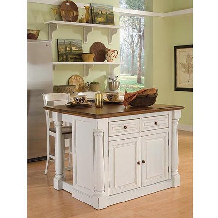 Home Styles Monarch Antiqued White Kitchen Island
