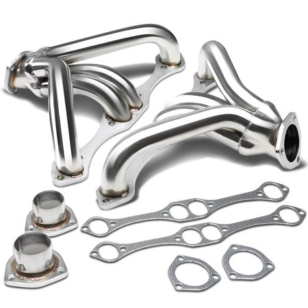 Chevy Small Block Hugger 2x4-1 Tight Fit Design Stainless Steel Exhaust Header Kit (Polished Chrome) Angle (Headers 4 Small Block)