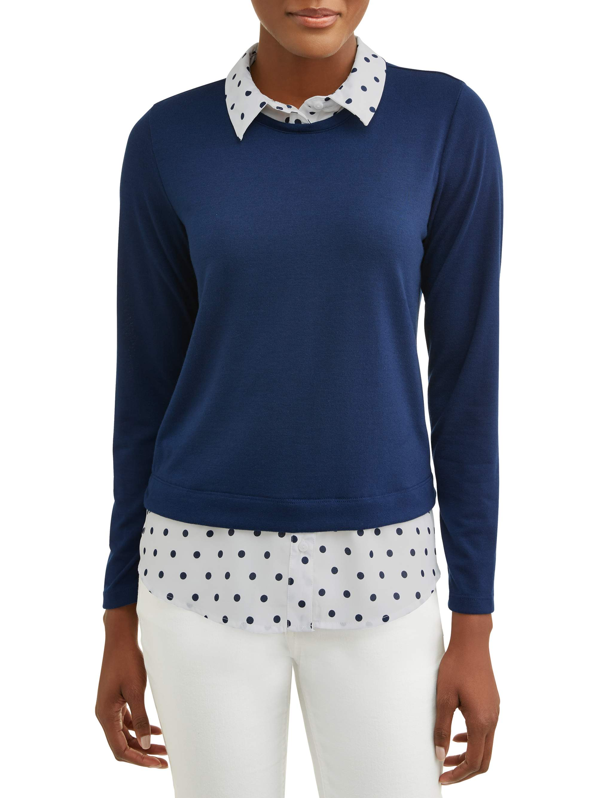 Women's 2fer Sweater with Built-In Collared Shirt