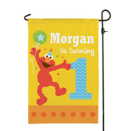 Personalized Sesame Street Elmo Birthday Flag](Sesame Street Birthday Banner)