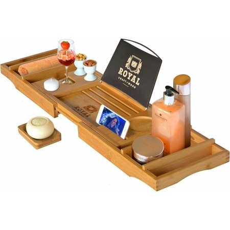 Royal Craft Wood Natural Bamboo Luxury Bathtub Caddy Tray Organizer for Bath Products - Water (Expandable Bathtub Caddy)