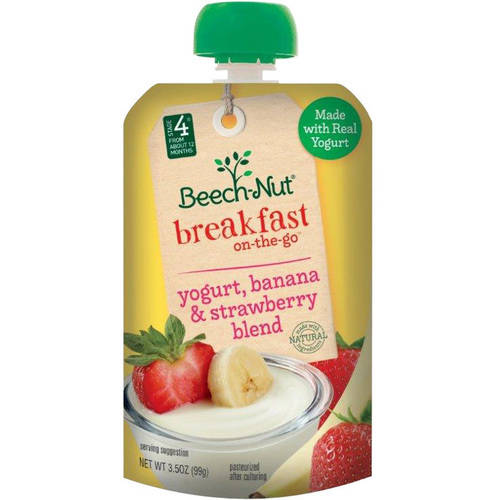 Beech-Nut Breakfast on-the-Go Yogurt, Banana & Strawberry Blend Baby Food, 3.5 oz, (Pack of 12)