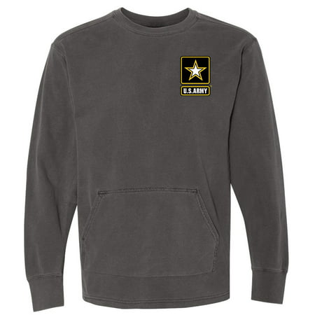 Army Long Sleeve Tee (Mens Long Sleeve ARMY Pigment Tee Shirt - Pepper, Medium (pocket print) )