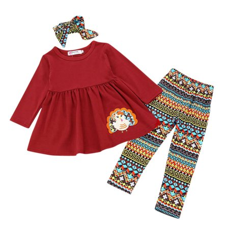 Mosunx 3Pcs Toddler Infant Baby Girls Turkey Dresses Pants Thanksgiving Day Outfits Set