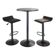 Obsidian 3pc Pub Set, Round Table with 2 Airlift Stools all Black by Winsome Wood