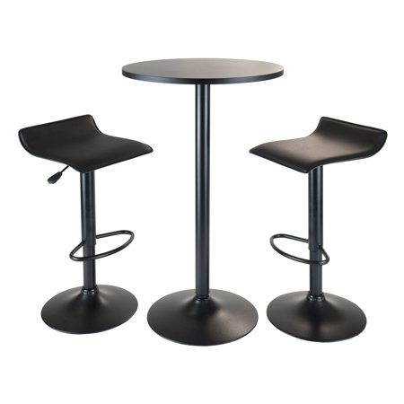 Obsidian 3pc Pub Set, Round Table with 2 Airlift Stools all (Round Pub Table Sets)