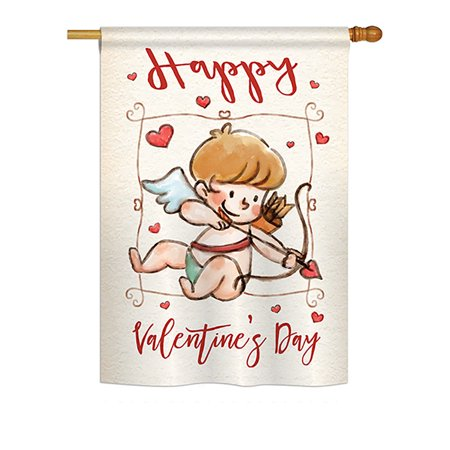 Ornament Collection - Happy Valentine's Day Cupid Spring - Seasonal Valentines Impressions Decorative Vertical House Flag 28