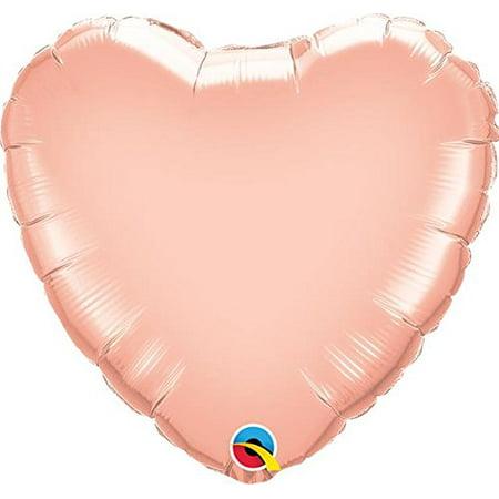 57045 Rose Gold 18 Inch Heart Shaped Foil Balloon Rose Gold Heart