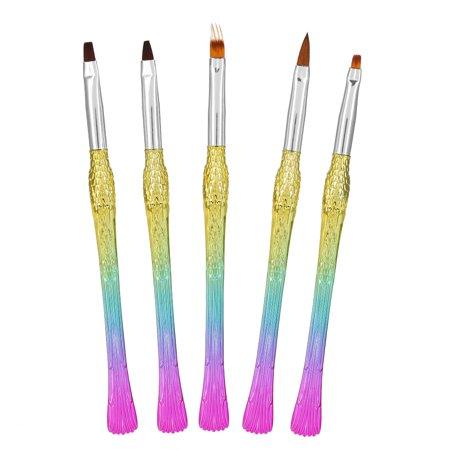 Walfront 5pcs Nail Art Design Brushes Rainbow Gradient Brush