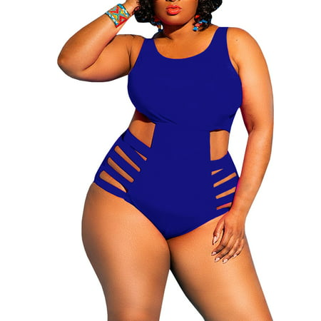 Plus Size Hollow-up Women Slim One Piece Swimsuit