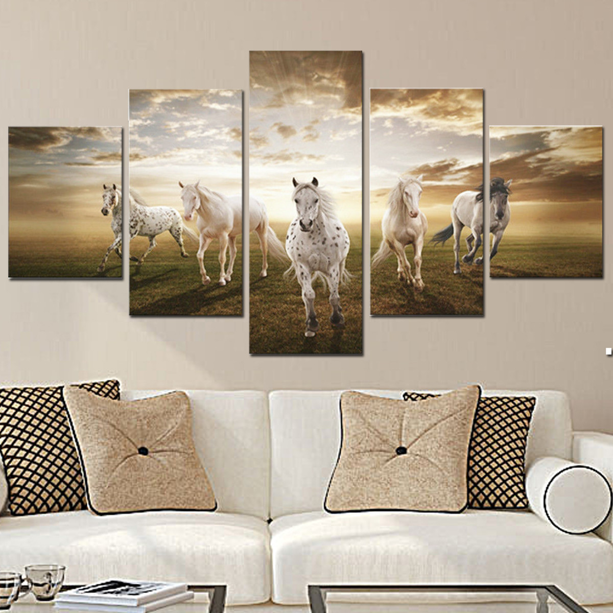 5Pcs Running Horse Oil Painting Picture Canvas Prints Modern Abstract Art Home Wall Decor No Frame by