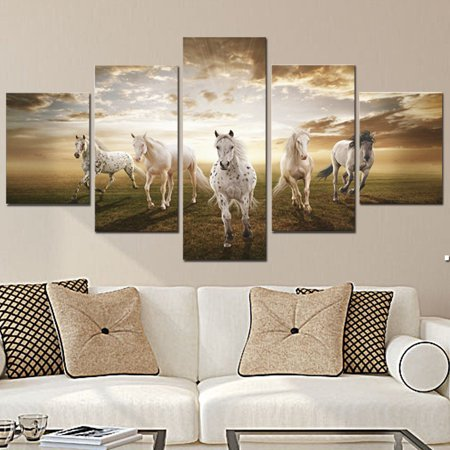 5Pcs Running Horse Oil Painting Picture Canvas Prints Modern Abstract Art Home