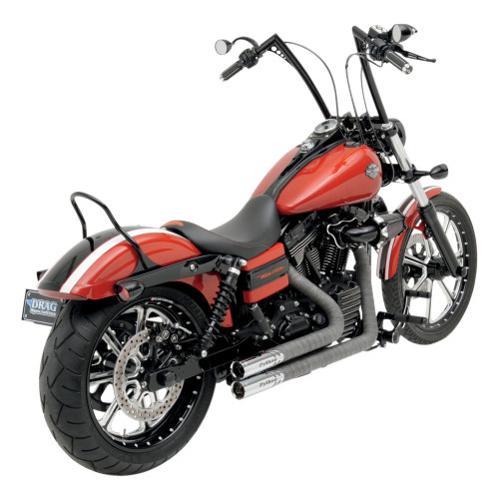 Python Throwback Exhaust Gray/Chrome Fits 86-11 Harley-Davidson FLSTF Softail Fat Boy