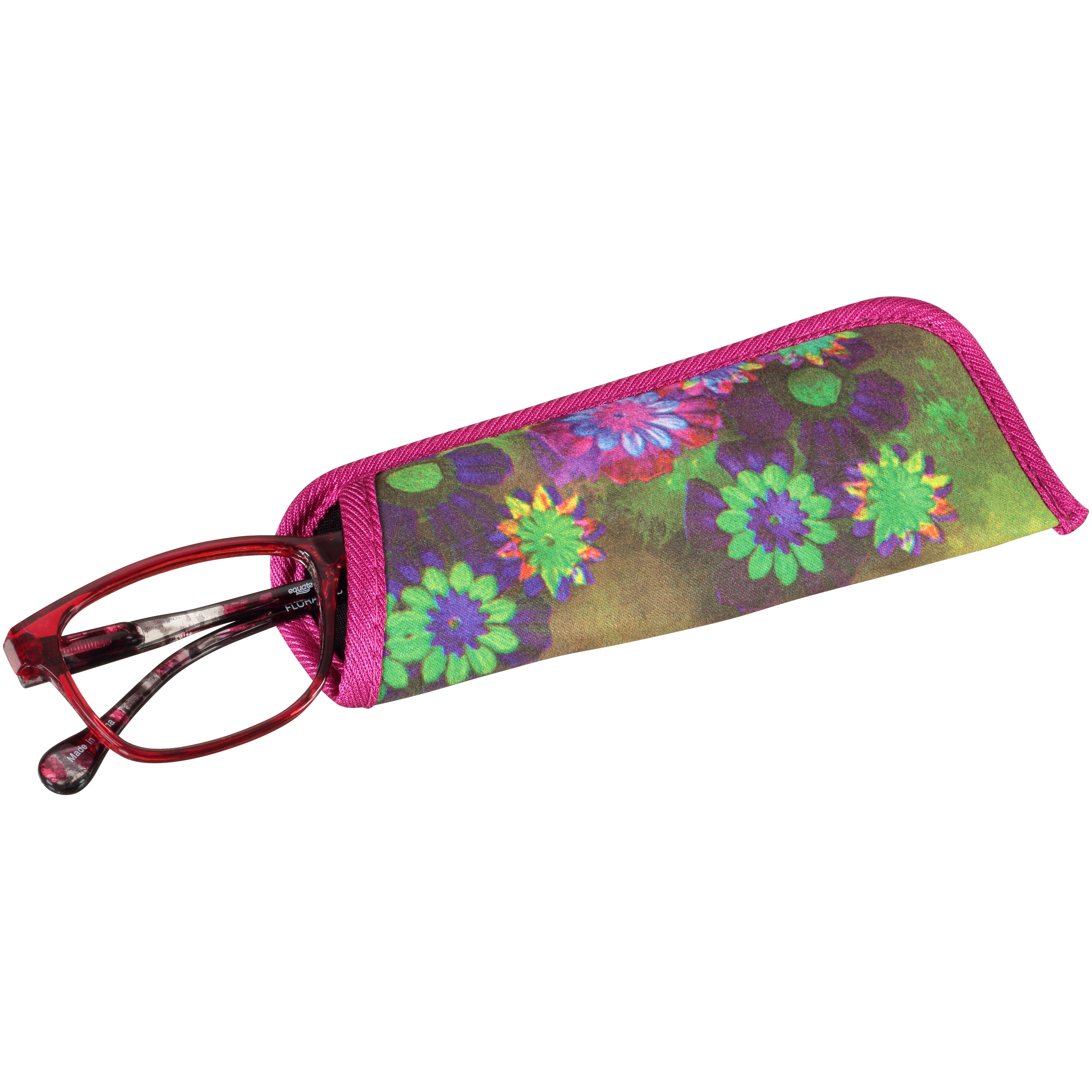fdc3df026c2 Equate Readers Flora Red +1.00 Reading Glasses with Case - Walmart.com