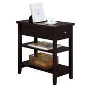 Topeakmart 3-Tier End Table Side Table Night Stand Bedside Table with Storage Shelf and Drawer Espresso