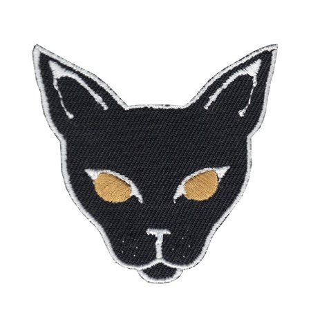 Black Cat Head Iron On Applique Patch (Halloween Arts And Crafts Black Cat)