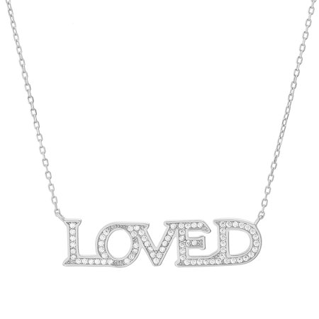 Rainbow Cubic Zirconia Loved Necklace in Rose Gold over Sterling Silver