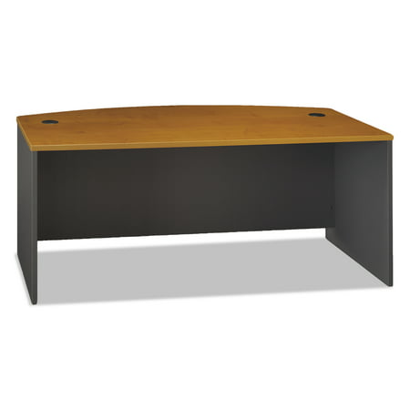 Bush Series C Collection 72W Bow Front Desk Shell, Natural Cherry Executive Straight Front Desk