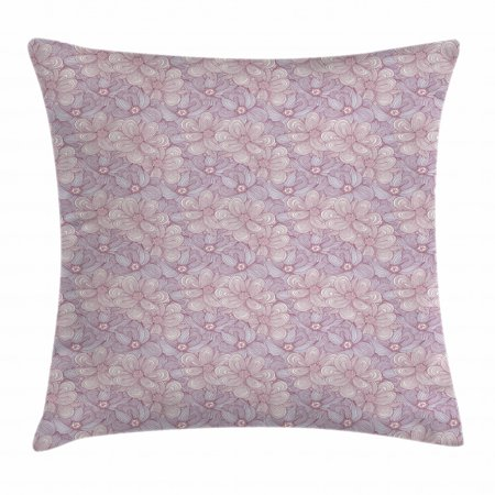 Floral Throw Pillow Cushion Cover, Doodle Style Hand Drawn Flowers with Vintage Effect, Decorative Square Accent Pillow Case, 18 X 18 Inches, Plum Pale Blue Grey Pale Green and Grey, by Ambesonne