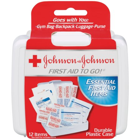 Johnson & Johnson Red Cross First Aid To Go!, First Aid Travel Kit, 12 Pieces