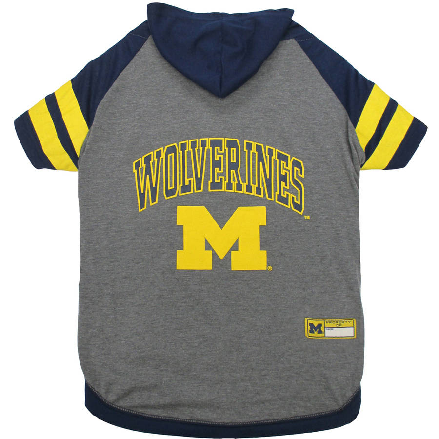 Pets First College Michigan Wolverines Pet Hoody Tee Shirt, 4 Sizes Available