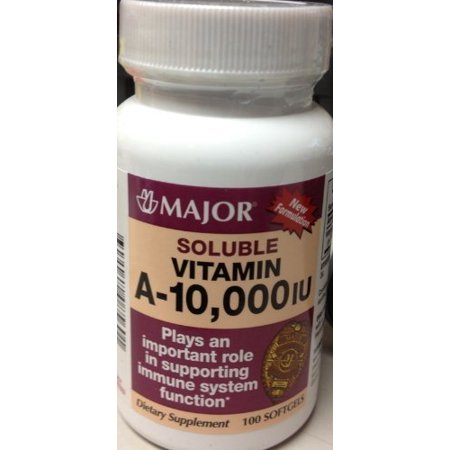 2 Pack Major Vitamin A 10000 IU Capsule 100 Each 10000 Iu 100 Capsules