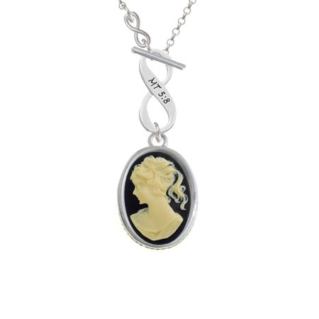 Oval Agate Cameo Pendant - Oval - Black Cameo - To Infinity Matthew 5:8 Toggle Necklace