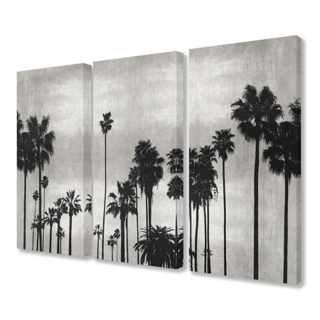 The Stupell Home Decor Collection Black and White Photography Palm Tree Silhouette Scene Triptych Stretched Canvas Wall Art Set, 16 x 1.5 x 24 - Palm Tree Scene