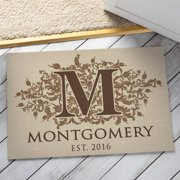 Personalized Doormat - Floral Initial Indoor/Outdoor Welcome Mat
