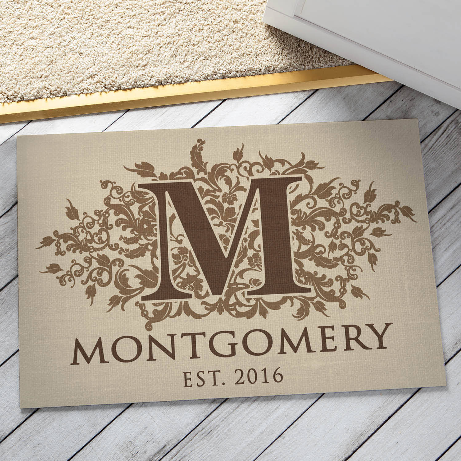 Personalized Doormat - Floral Initial