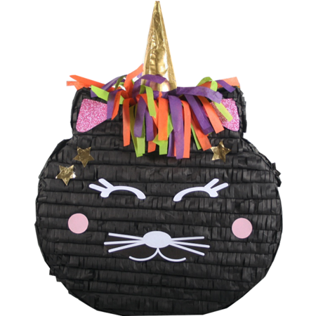 Black Caticorn Halloween Cat Unicorn Pinata, 17in x 21in