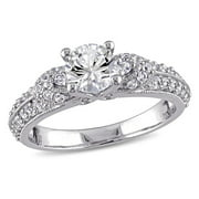 Miabella Created White Sapphire Engagement Ring in Sterling Silver