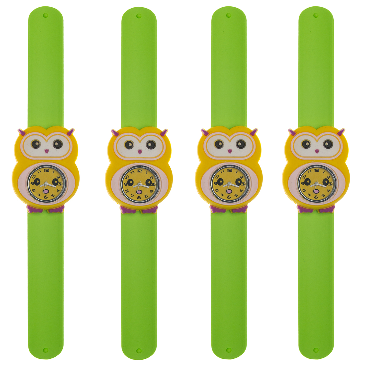 4 Pack Of Animals Slap Wrist Watches For Kids Rubber Snap Band Bracelet Analog Fun, Boys and Girls
