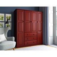 100% Solid Wood Family Wardrobe by Palace Imports, Mahogany. No Shelves Included.