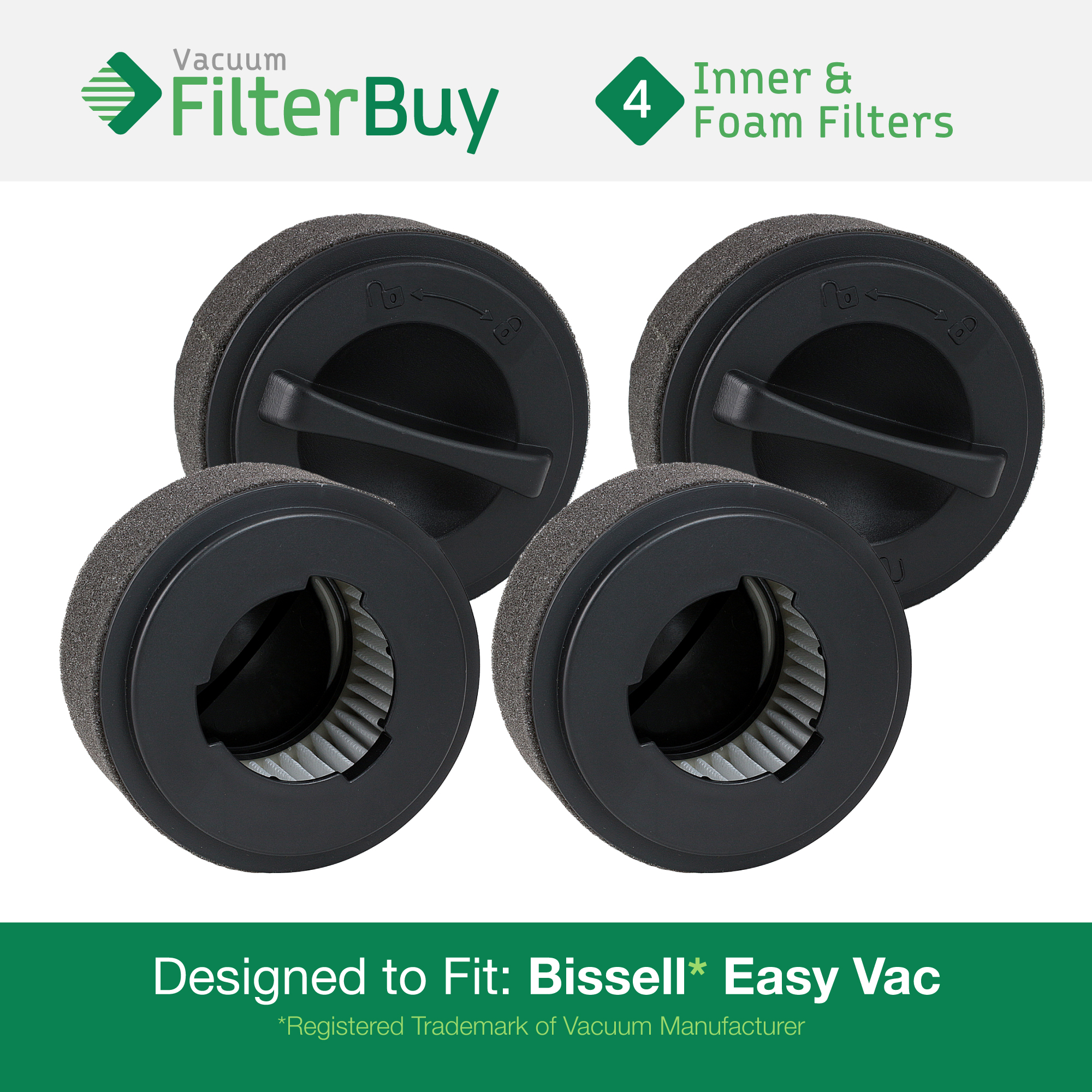 4 - Bissell Inner & Washable Outer Filters. Designed by FilterBuy to fit Easy Vac Model #'s 23T7, 23T74, 23T7E, 23T7F, 23T7G, 23T7W & 23T7Y. Replaces Part # 203-7593.