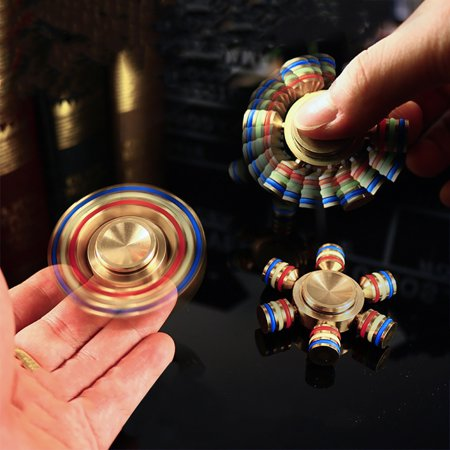 Glowing Brass Hand Spinner Finger EDC Fidget ADHD Focus Desk Toy for Kids/Adults
