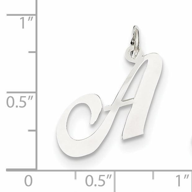 14K White Gold Medium Fancy Script Initial A Char - image 1 of 2