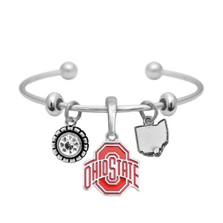 Ohio State Buckeyes Home Sweet Home Silver Red Crystal Cuff Bracelet Jewelry Gift (Ohio State Buckeyes Crystal)