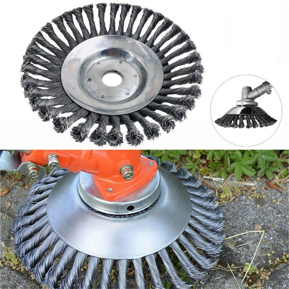 "6/"" Steel Wire Wheel Brush Grass Trimmer Head Weed Cleaning Garden Weed Cutter"