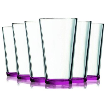 Pink Margarita Glasses (Pink Mixing Glasses with Beautiful Colored Stem Accent - 16 oz. set of 6- Additional Vibrant Colors Available by TableTop)