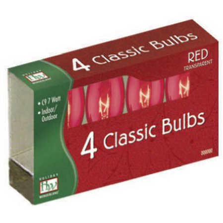 Transparent Red Light (Christmas Lights Replacement Bulb, C9, Red Transparent, 4 PK., Noma,)